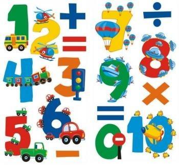 Járművek és számok fali matricaszett