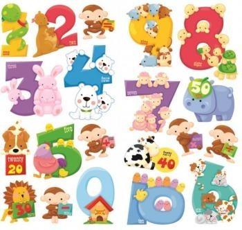 Állatok és számok fali matricaszett