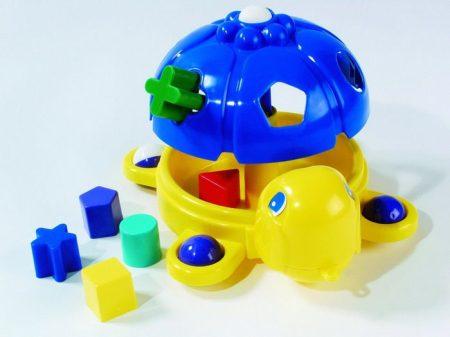 Húzható, formaillesztő teknős - Piros