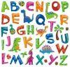 Dínók betűkkel fali matricaszett