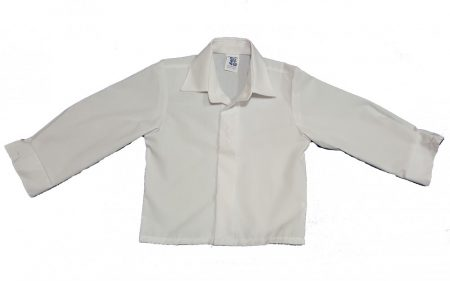 Hosszú ujjú fehér ing, elegáns hímzéssel 86-92